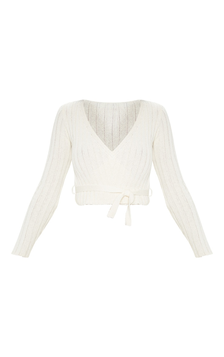 Cream Ribbed Knit Wrap Front Top 3