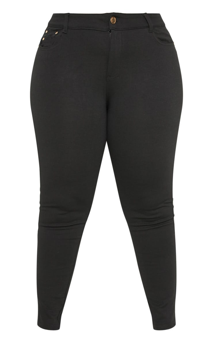 Plus Black Mid Rise Skinny Jegging  3