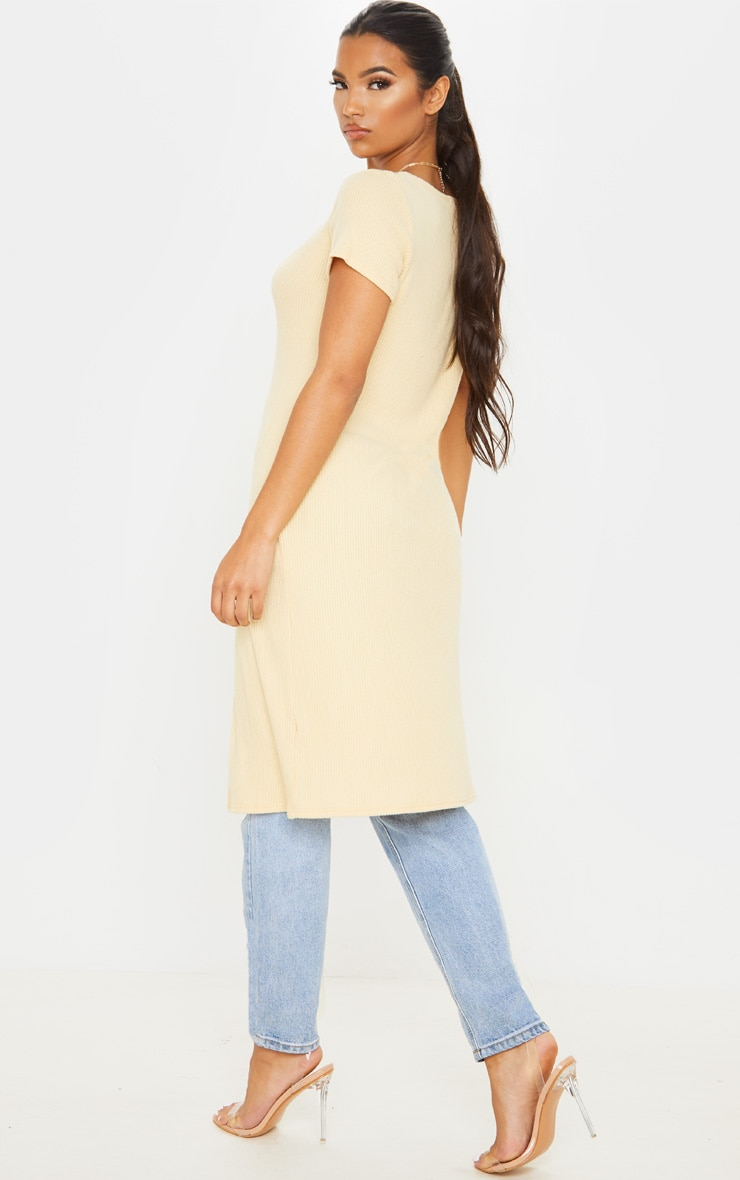 Sand Brushed Rib Button Short Sleeved Longline Top 2