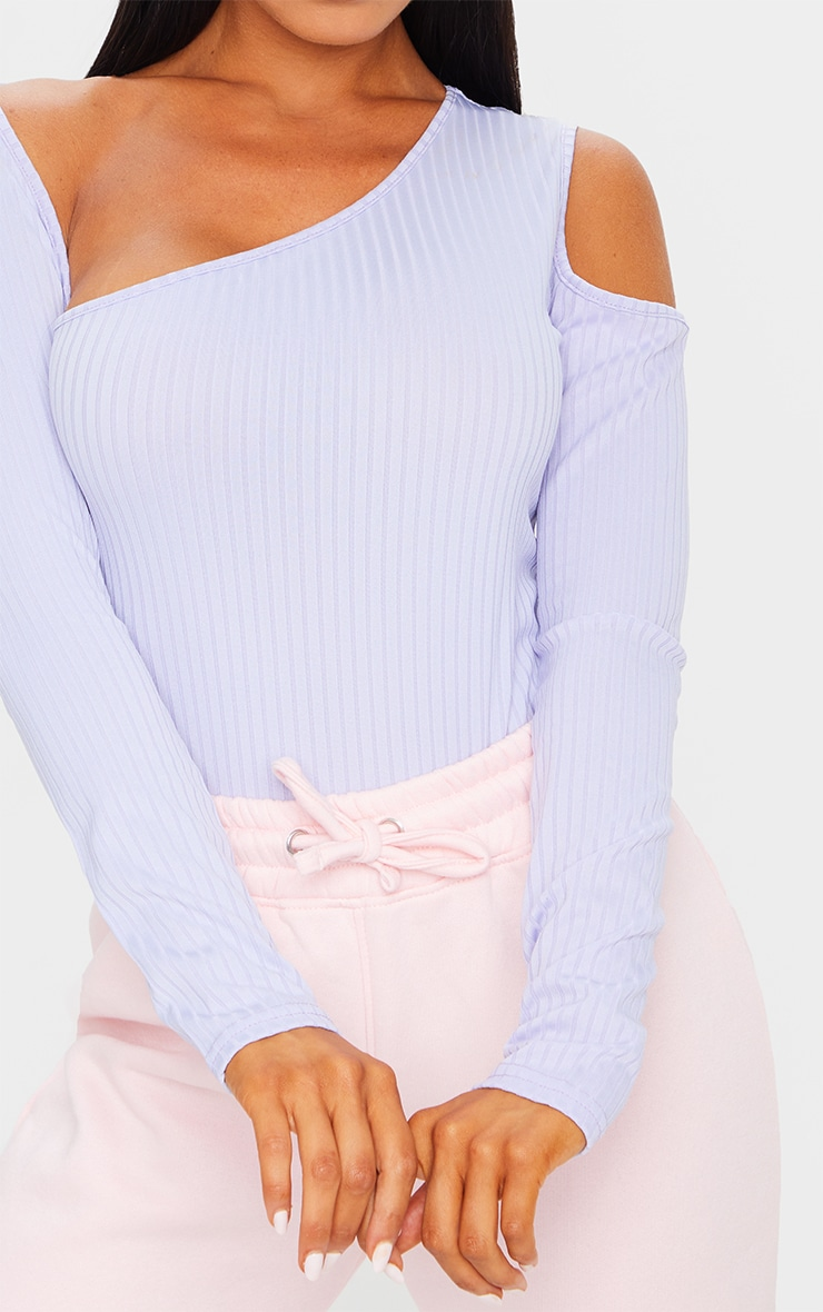 Dusty Lilac Rib Cut Out Long Sleeve Bodysuit 4