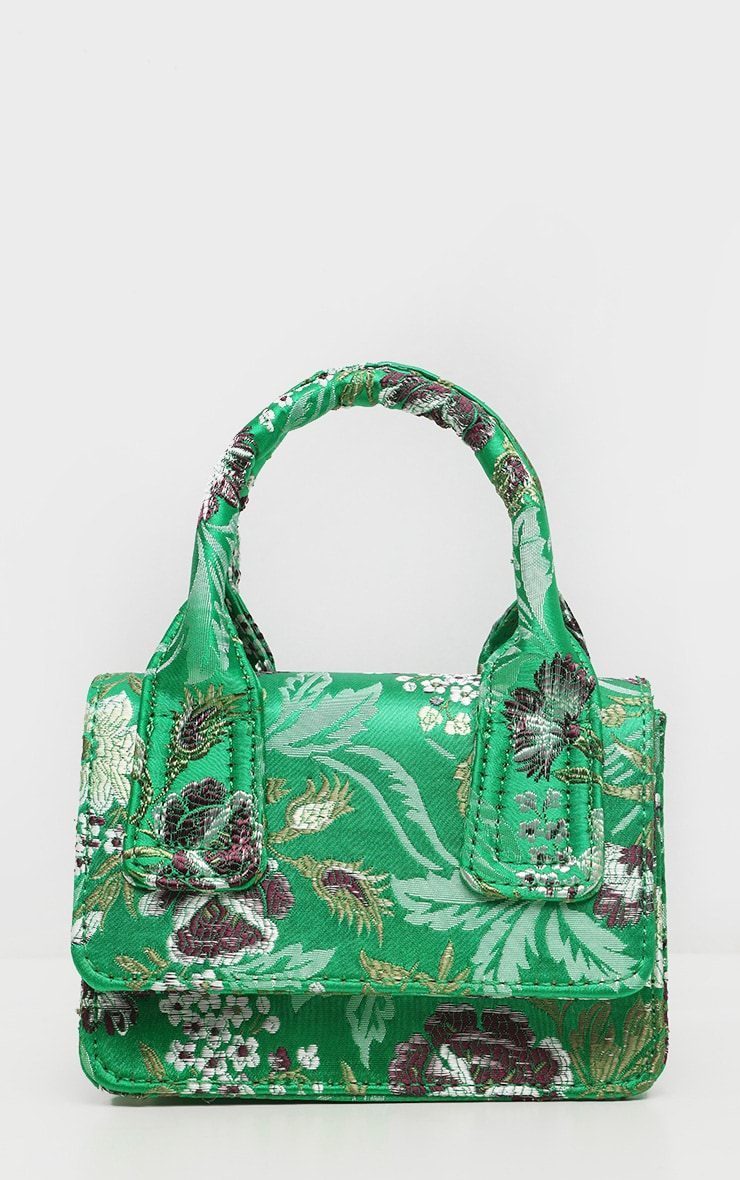 Green Jacquard Mini Square Handle Bag 4