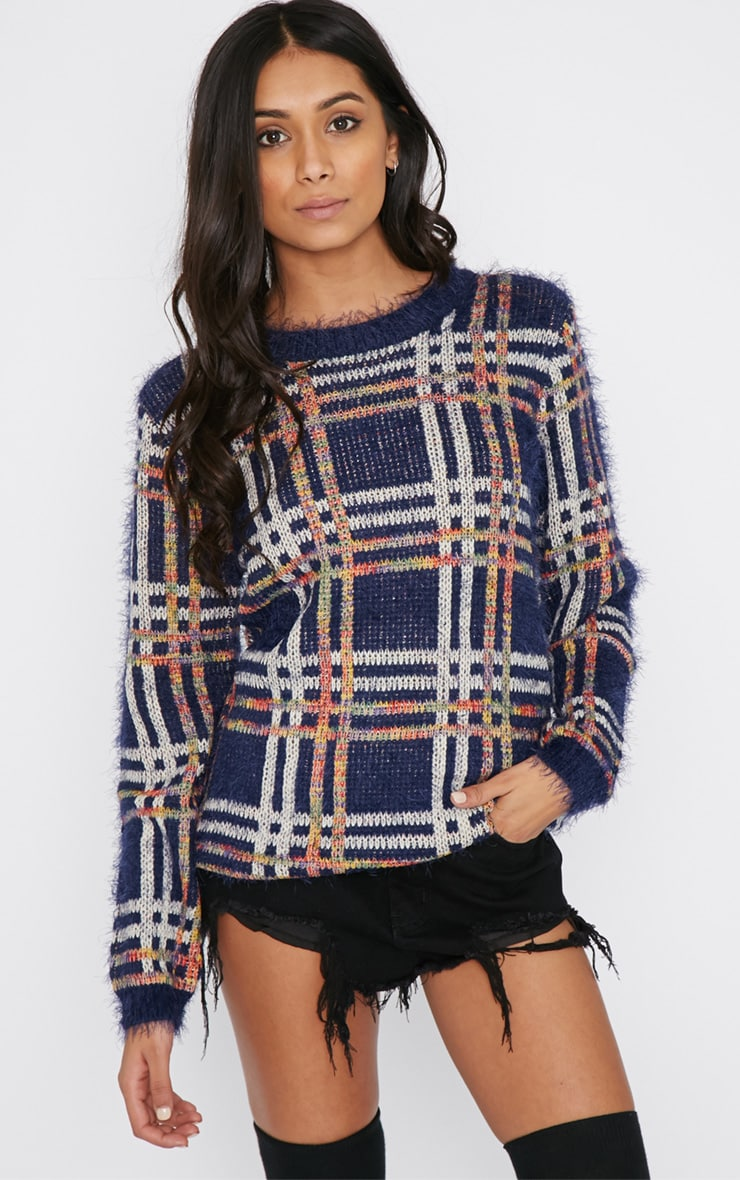 Sacha Blue Tartan Fluffy Jumper  4