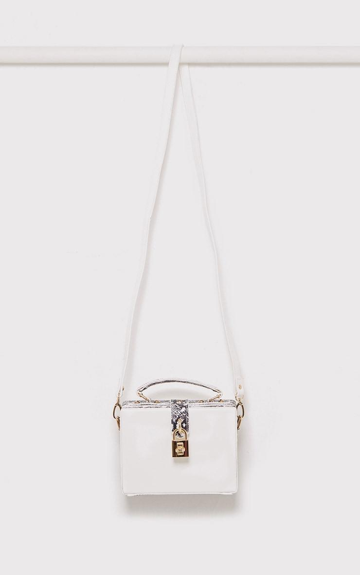 Zara White Padlock Box Bag 4