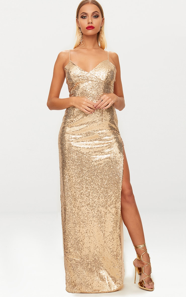 Gold Sequin Extreme Split Plunge Maxi Dress