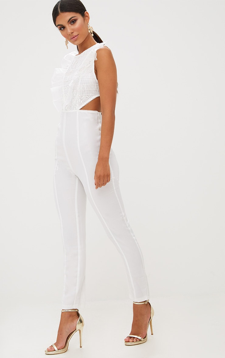 White Mesh Shoulder Cut Out Detail Jumpsuit 4