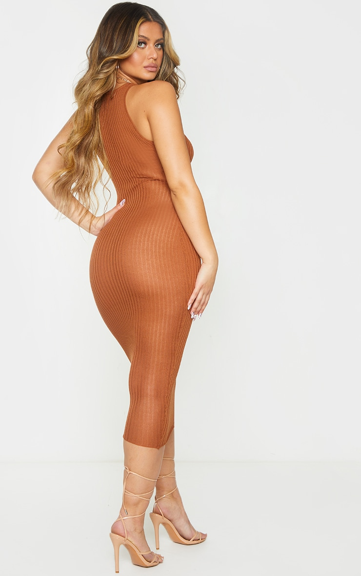 Rust Sheer Knit Underbust Detail Midi Dress 2