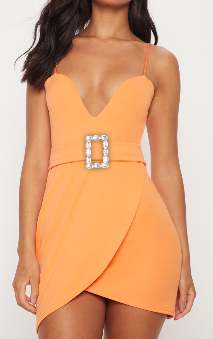 Tangerine Strappy Diamante Belt Wrap Bodycon Dress 5