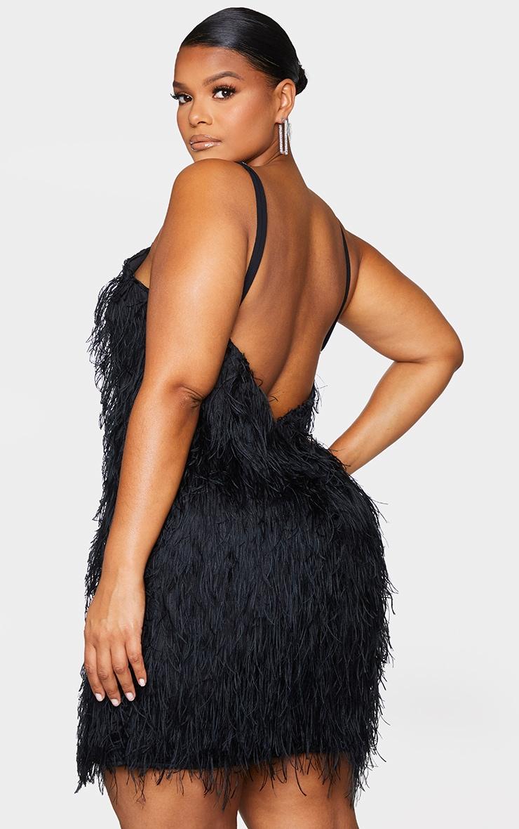 Plus Black Textured Detail Strappy Bodycon Dress 3