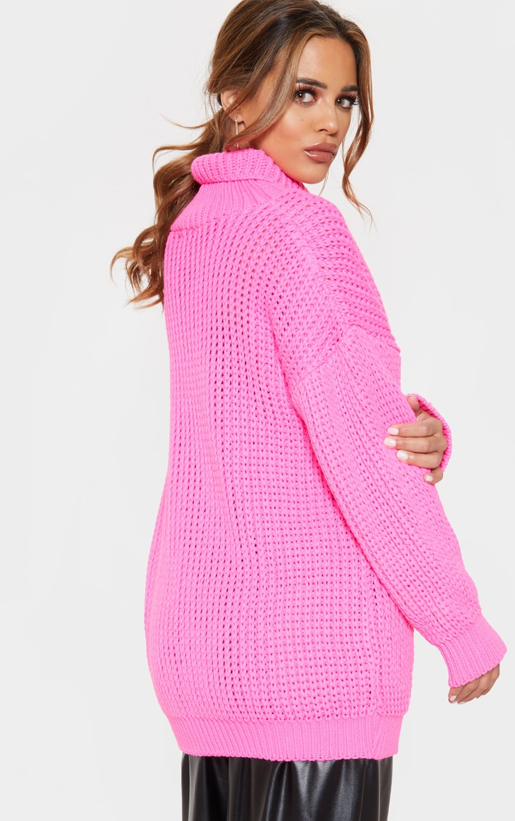 Petite  Hot Pink Roll Neck Oversized Chunky Knit Jumper 2