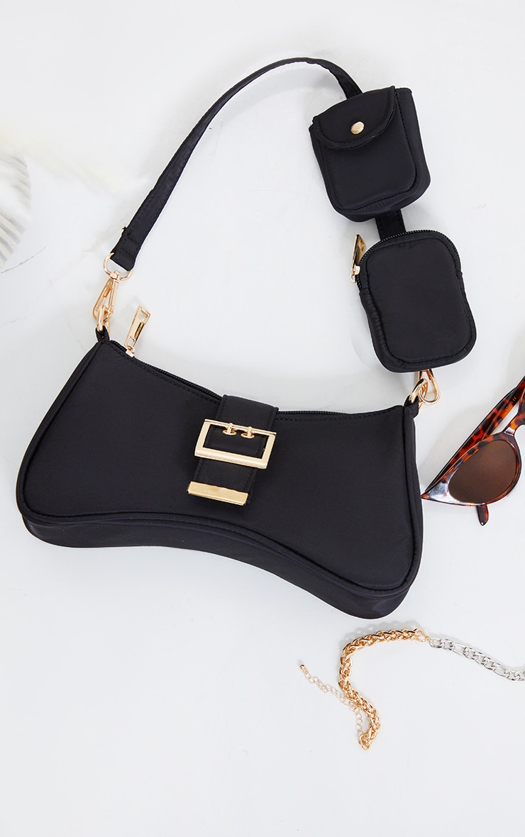 Black Nylon Multi Pocket Shoulder Bag 1