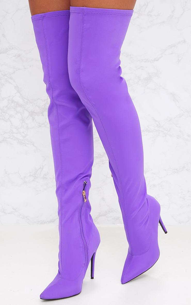 Purple Lycra Thigh High Sock Boot 2