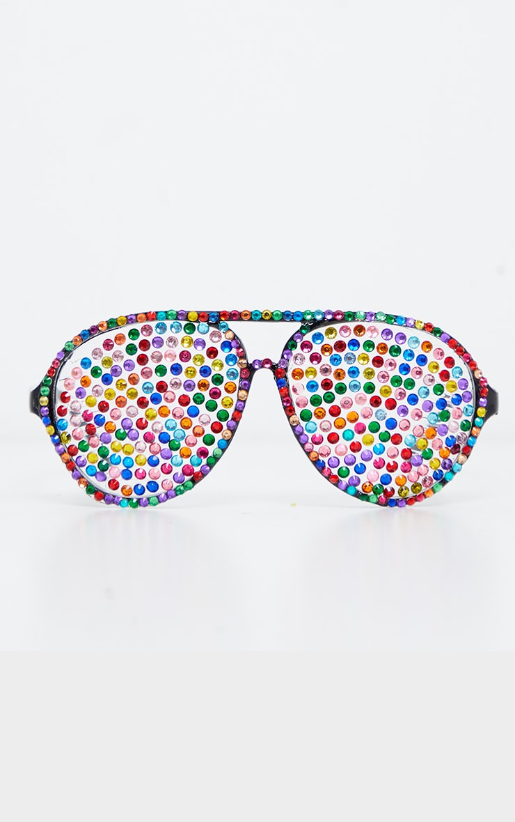 Multi Gemstone Covered Aviator Glasses 2