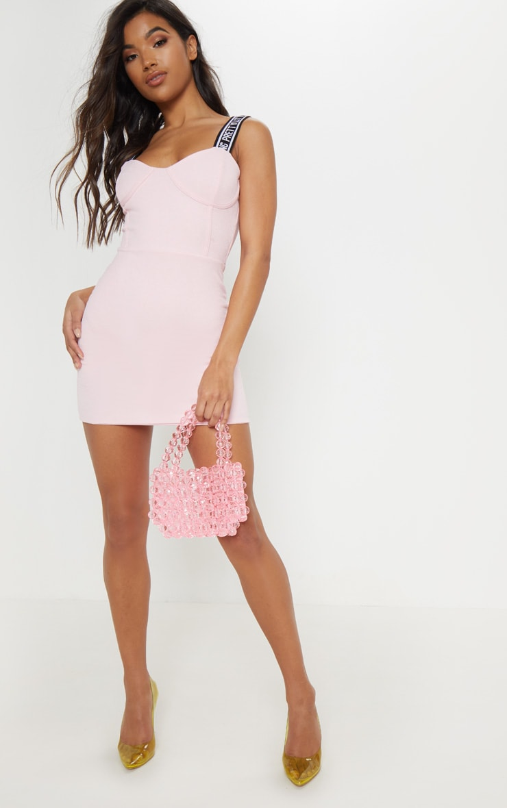 PRETTYLITTLETHING Baby Pink Strappy Cup Detail Bodycon Dress 4