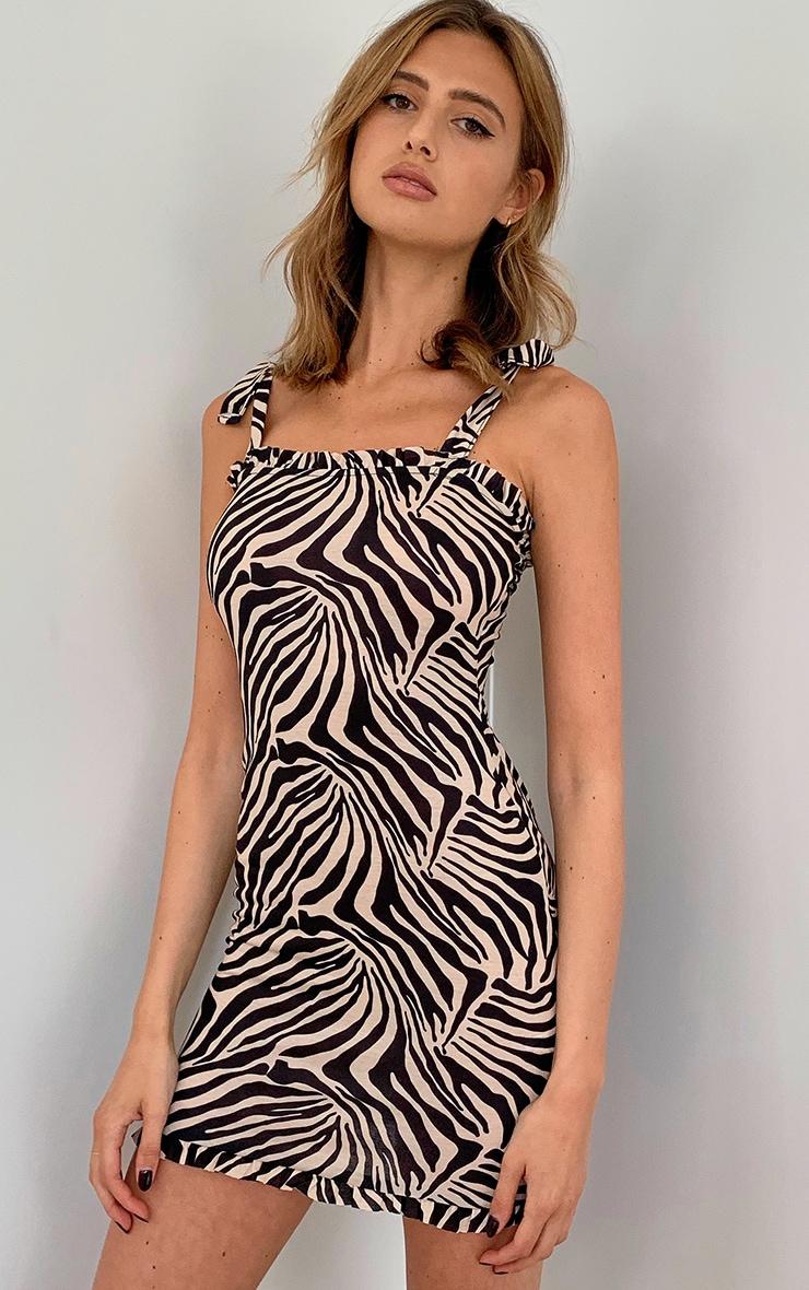 Mono Zebra Print Frill Tie Shoulder Bodycon Dress 1