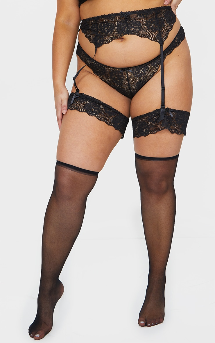 Plus Black Suspender, Hold Up & Knickers Set 1
