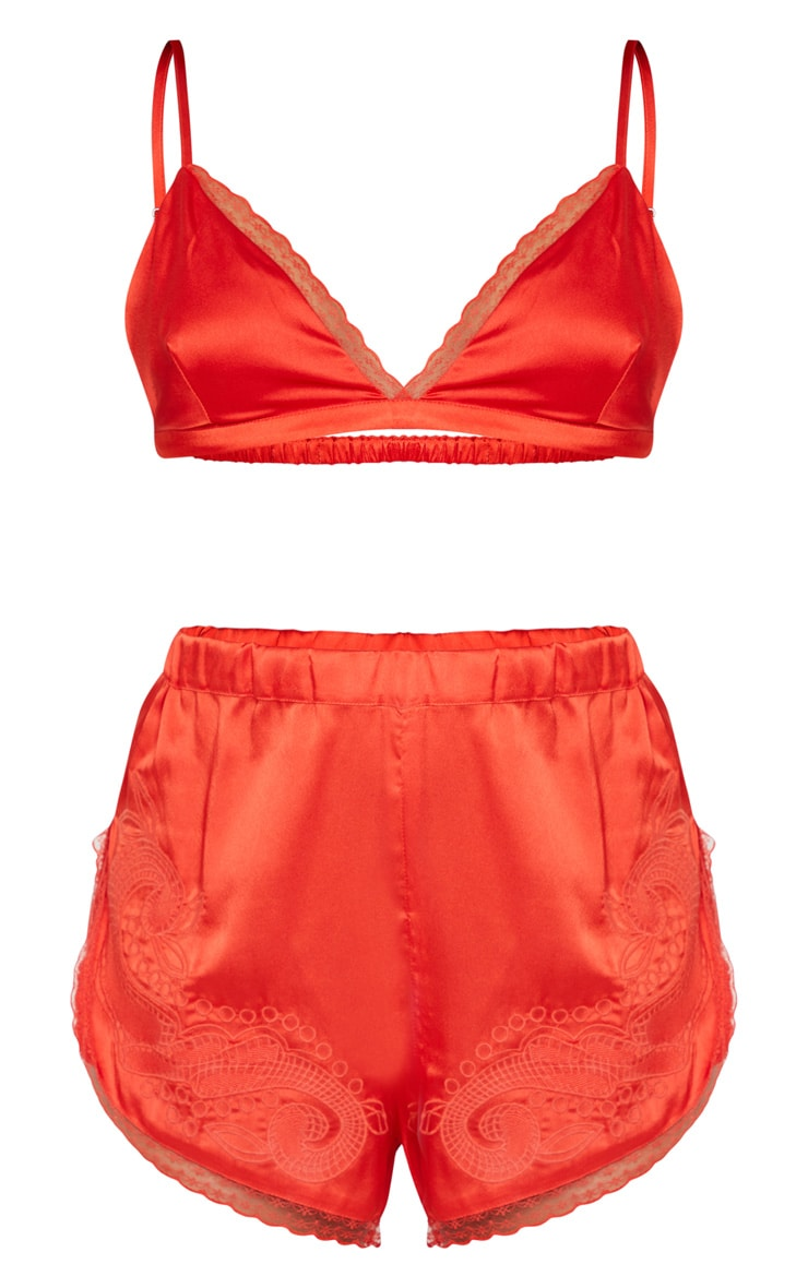 Red Lace Trim Bralet And Short Set 3