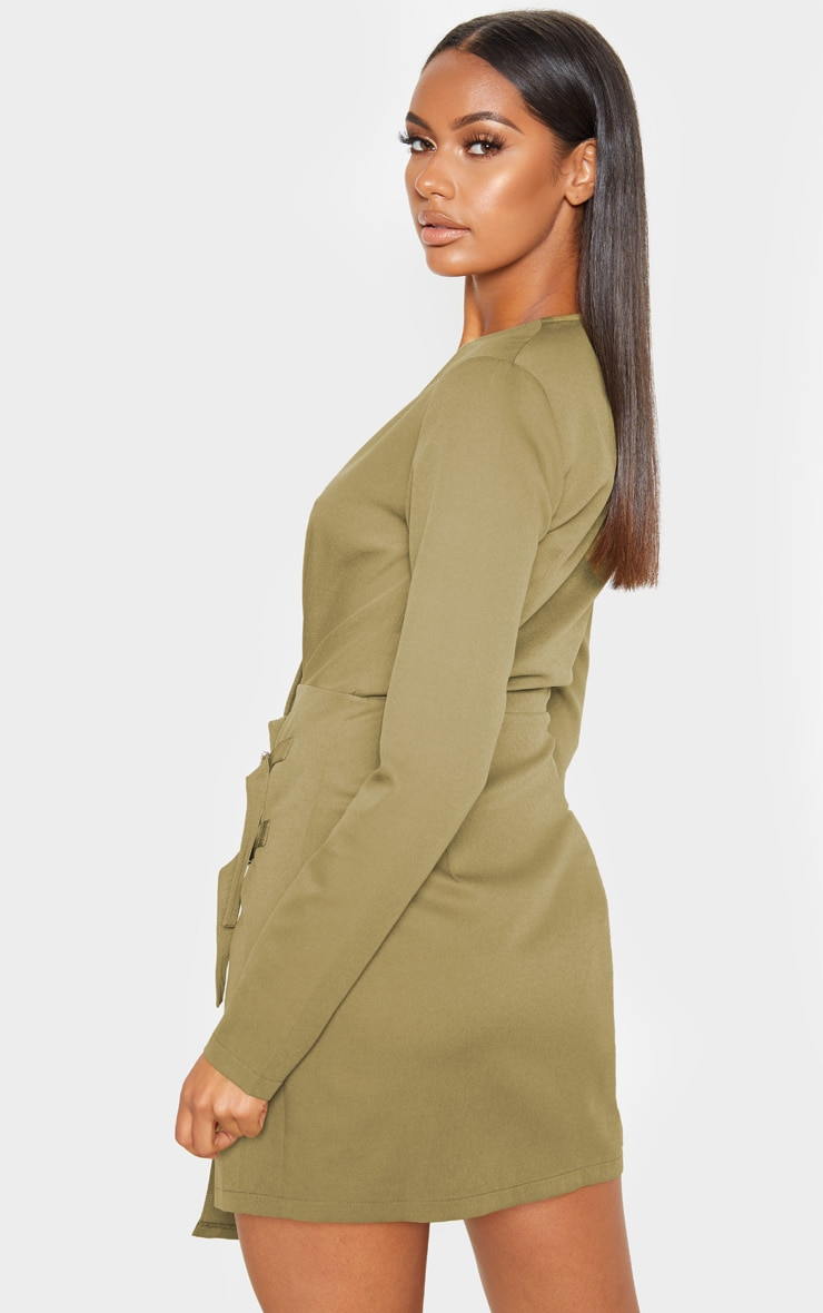 Khaki Buckle Detail Wrap Bodycon Dress 2