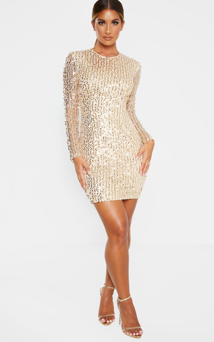 Gold Sequin Long Sleeved Bodycon Dress 4