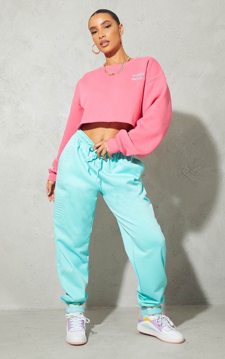 Hot Pink Worry Less Smile More Embroidered Crop Sweatshirt 3