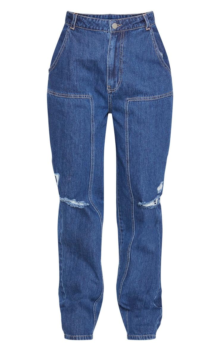 Dark Wash Baggy Cargo Boyfriend Jeans 3