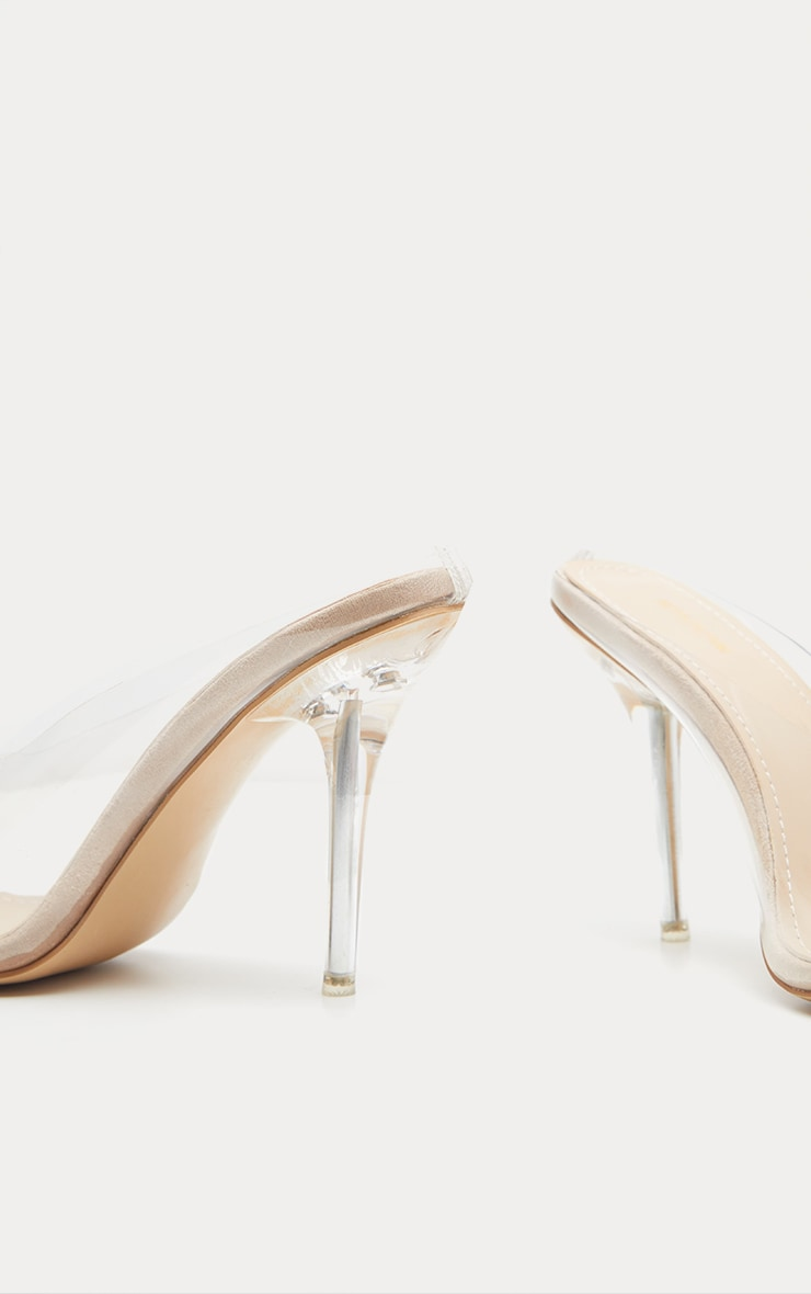 Nude Clear Mule Court Shoes  4