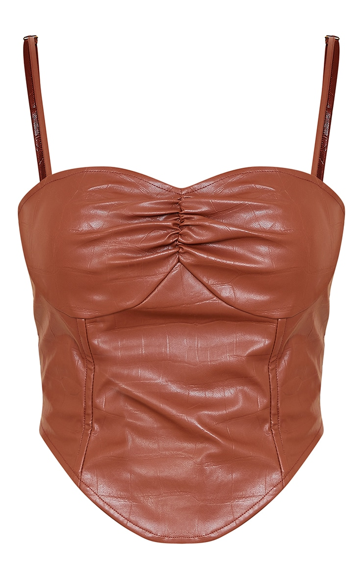 Chocolate Brown Croc Print Faux Leather Cup Detail Strappy Corset Top 5