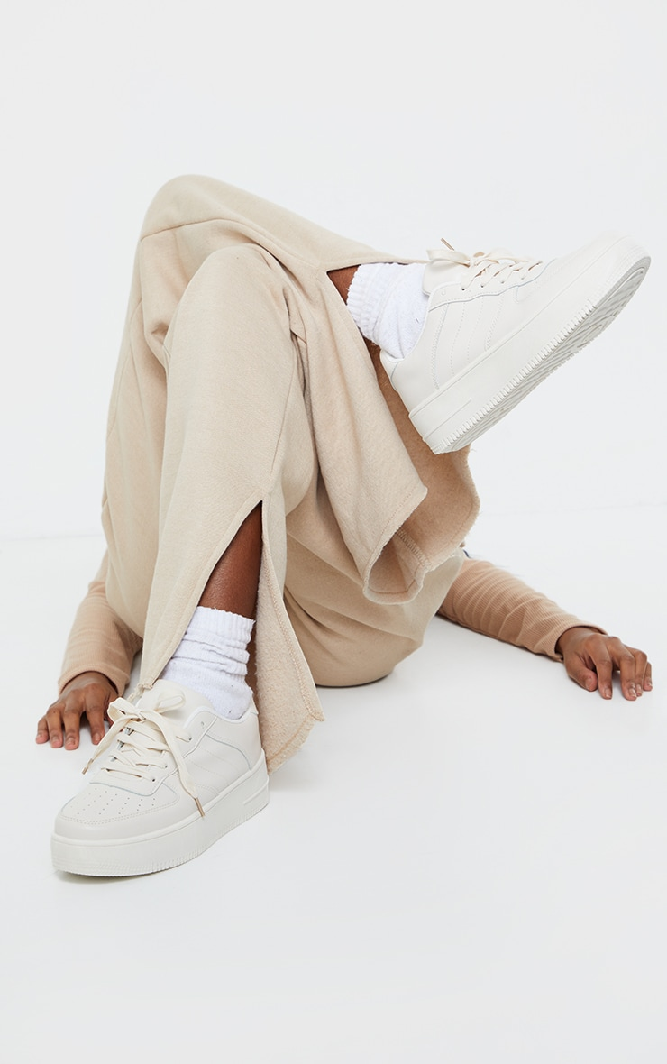 Nude Lace Up Flatform Sneakers  2