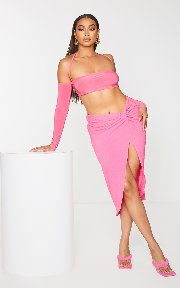 Pink Textured Knot Front Midi Skirt 1