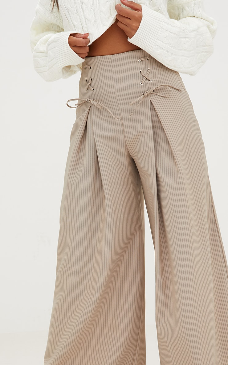 Stone Pinstripe Lace Up Wide Leg Trousers 5