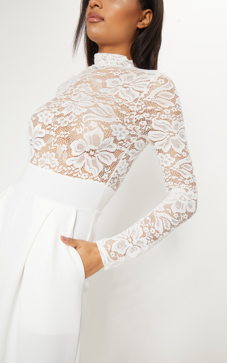 White Lace High Neck Long Sleeve Jumpsuit 5