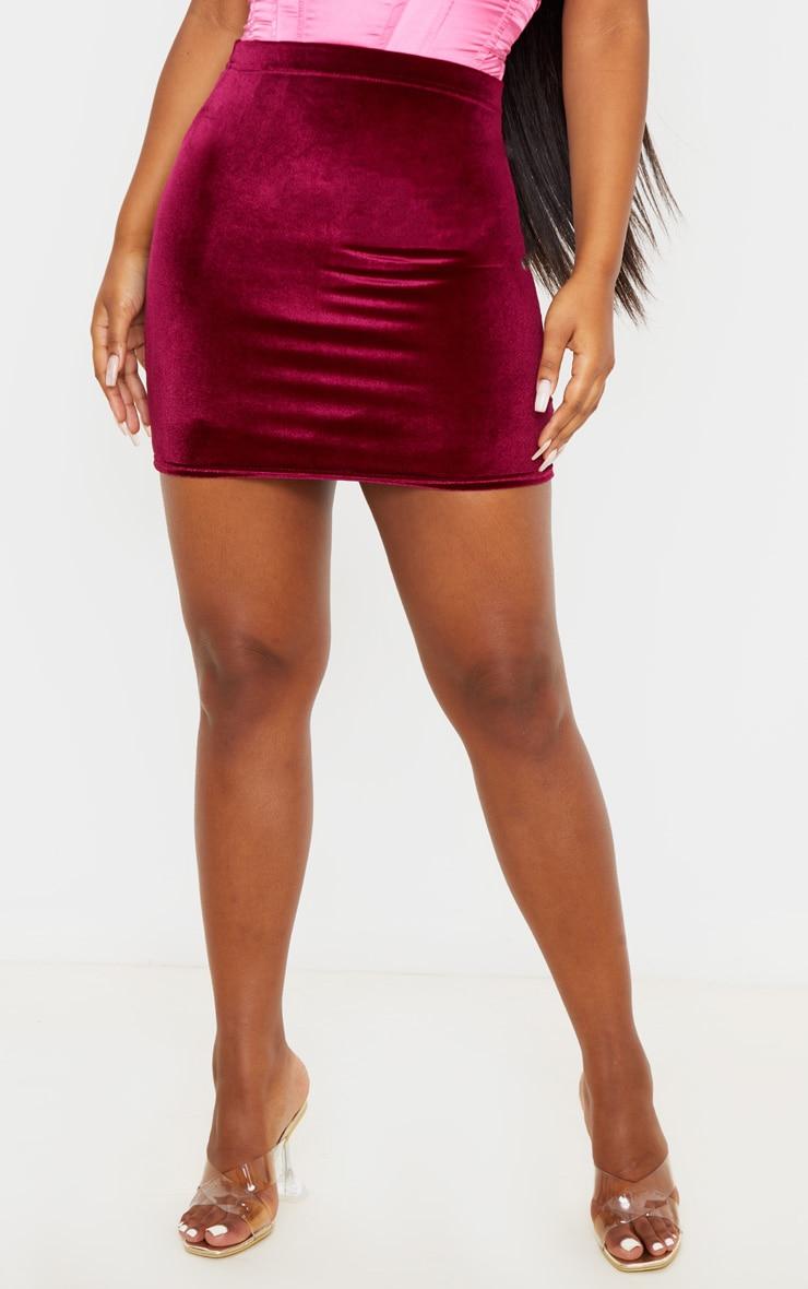 Burgundy Basic Velvet Mini Skirt 2