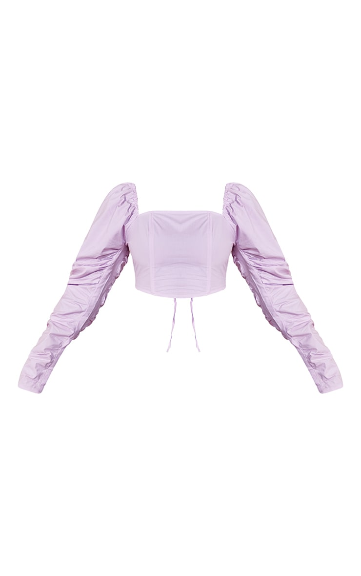 Lilac Woven Tie Back Detail Long Sleeve Crop Top 5