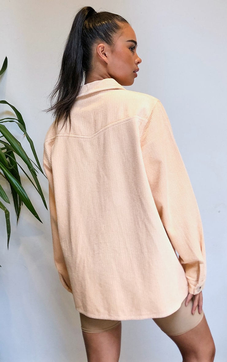 Peach Jumbo Cord Long Sleeve Denim Shirt 2