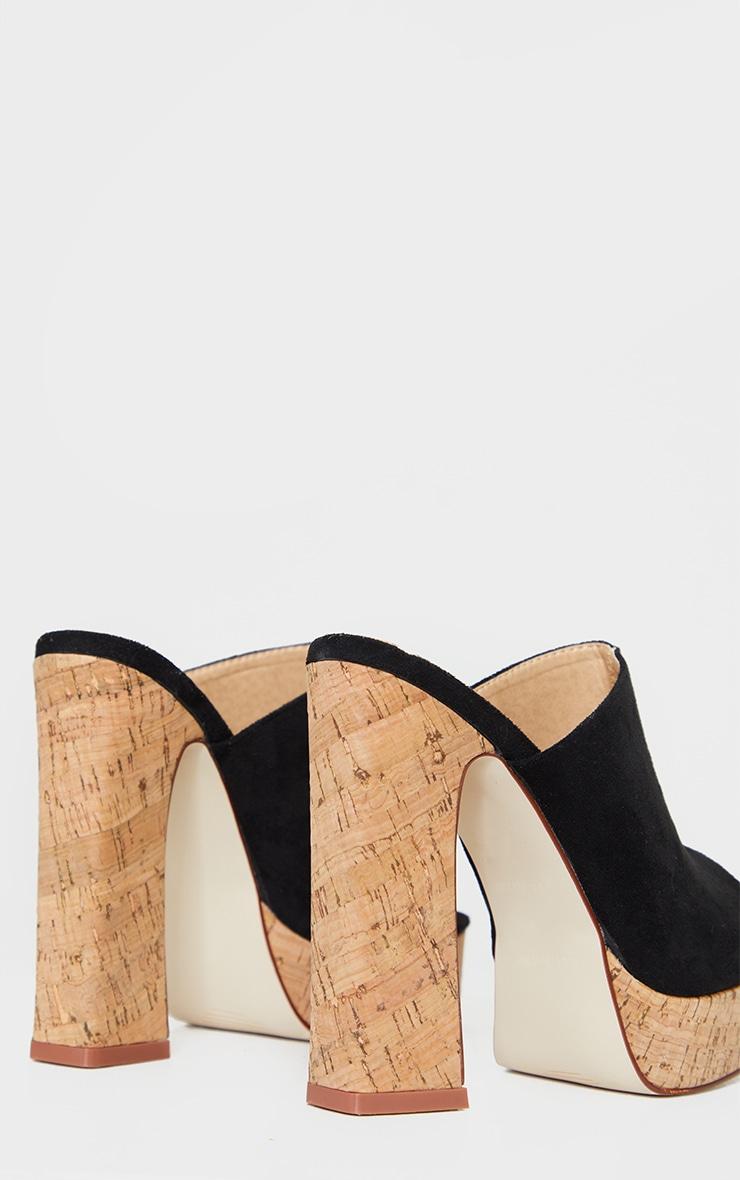 Black Cork Mule High Platform Sandals 3