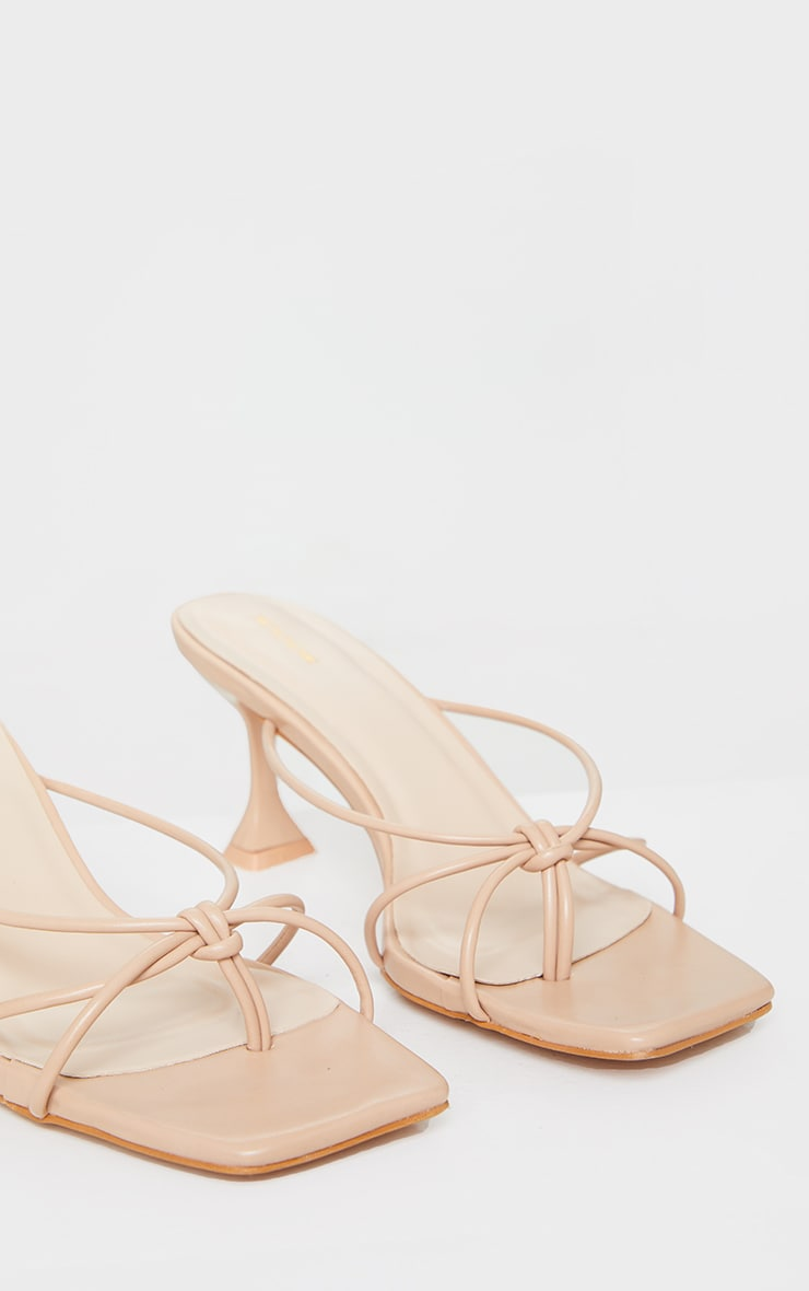Camel Knot Toe Thong Low Heel Cake Stand Mules 4