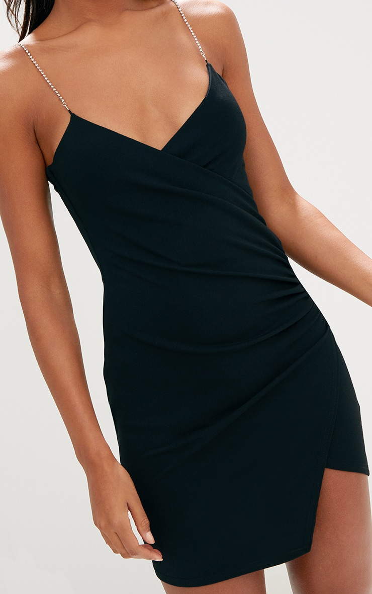 Black Diamante Strap Ruched Asymmetric Dress 6