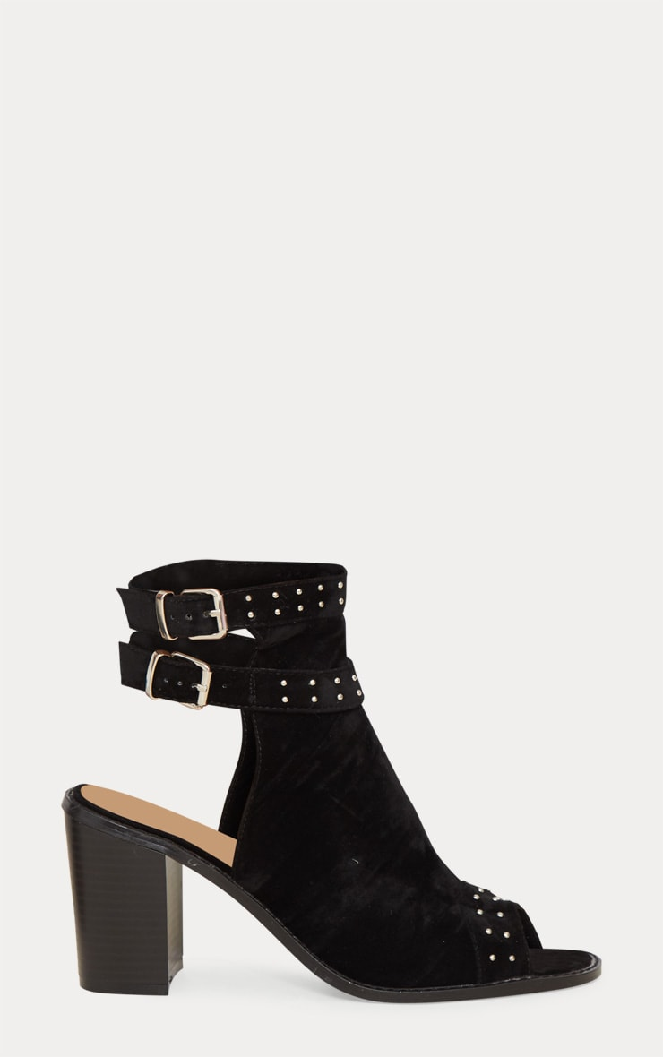 Black Buckle Cut Out Block Heel Ankle Boots 4