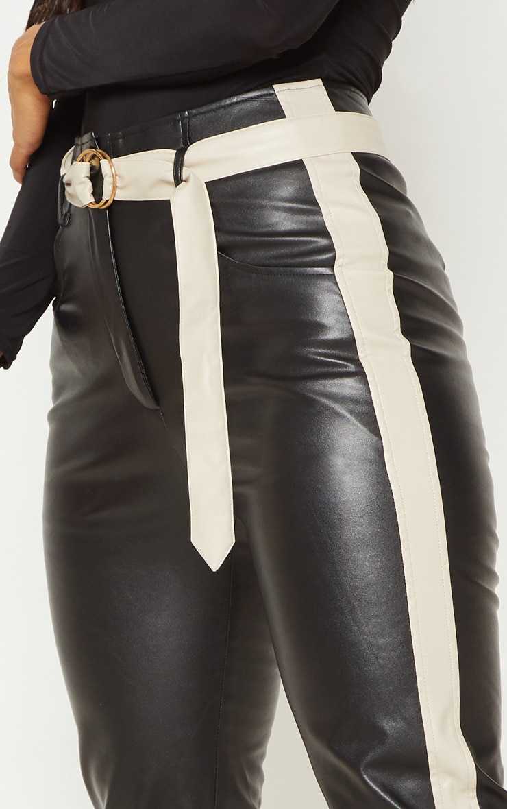 Black Faux Leather Belt Trousers 5