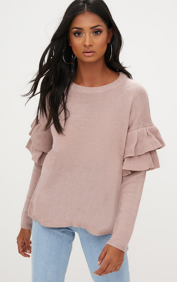 Blush Double Frill Sleeve Jumper 1