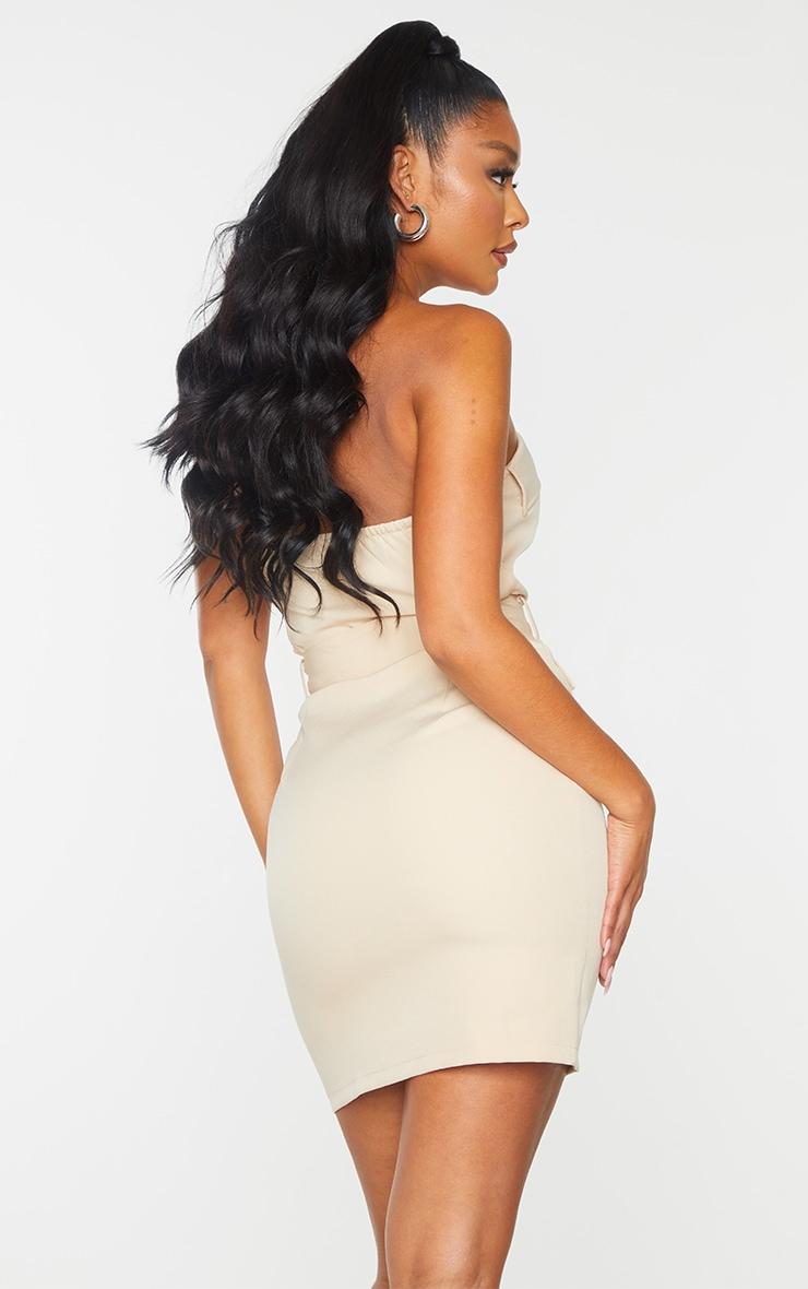 Nude Bandeau Belted Pocket Detail Bodycon Dress 2