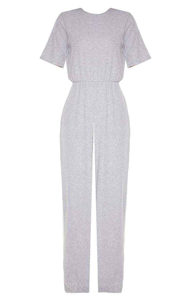 Grey Brushed Rib Short Sleeve Jumpsuit 3