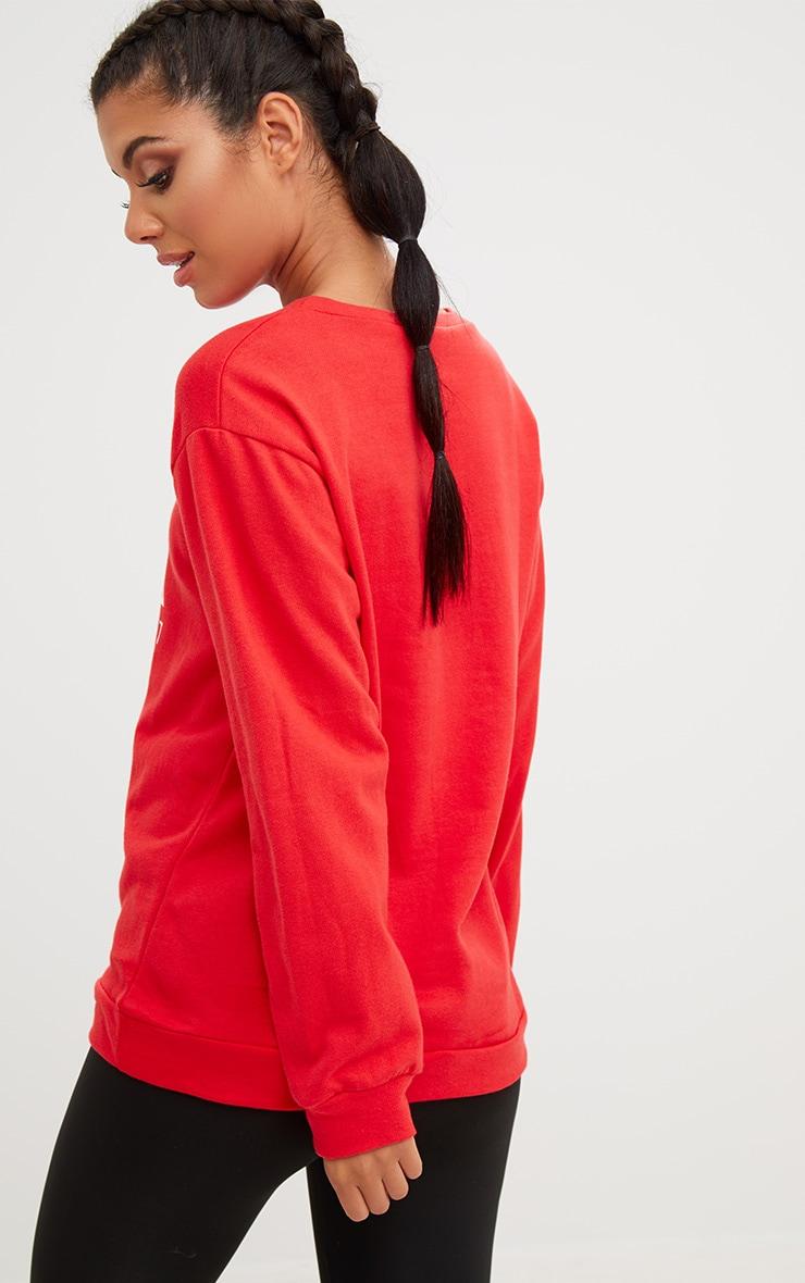 PRETTYLITTLETHING Red Sport Loop Back Sweatshirt  2
