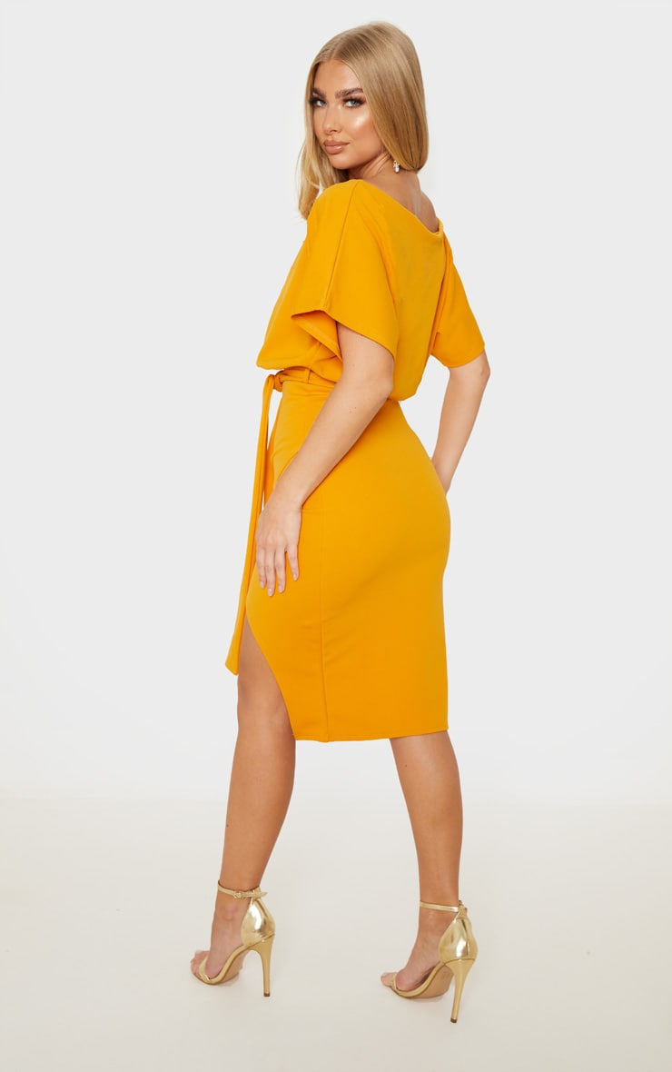 Mustard Wrap Front Kimono Sleeve Midi Dress 2