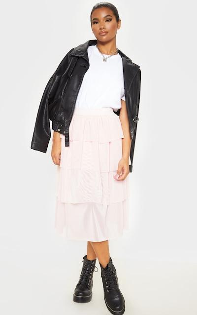 Blush Tulle Frill Layer Midi Skirt