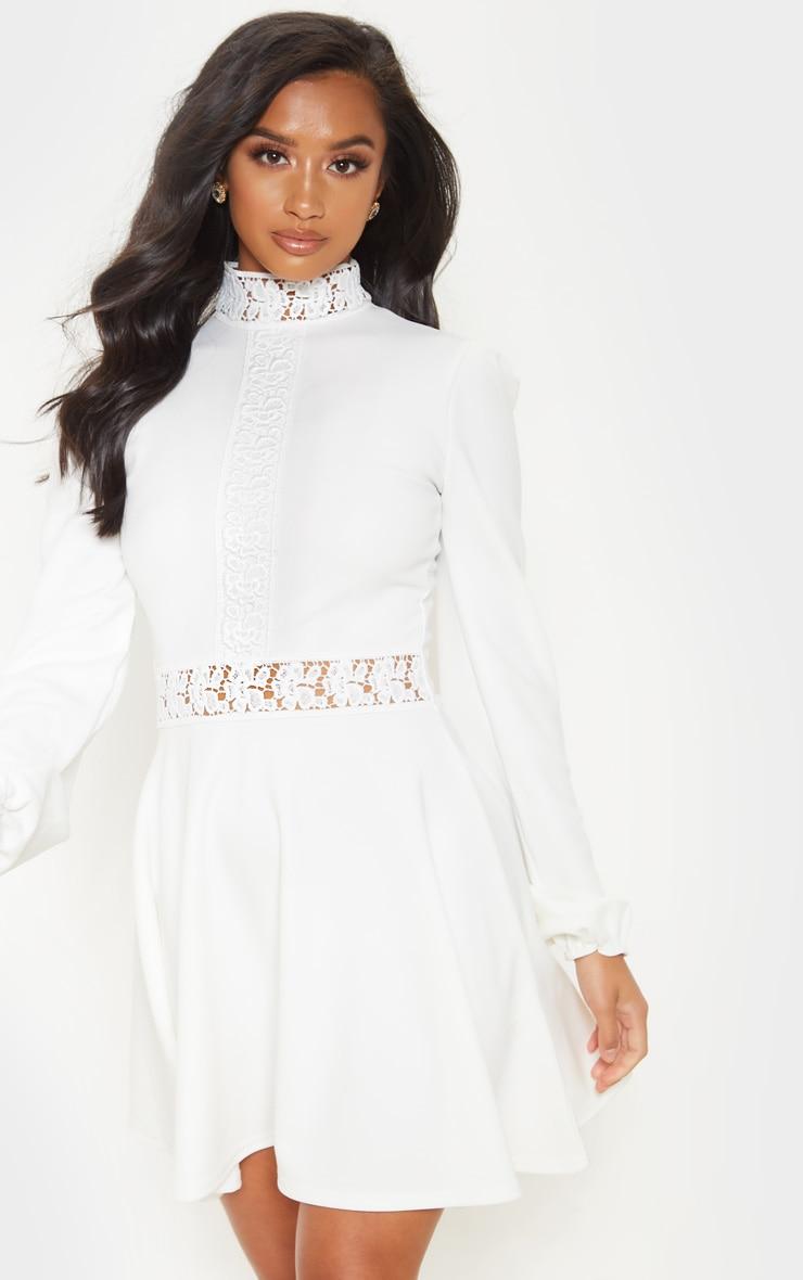 Petite White Lace Trim Long Sleeve Skater Dress