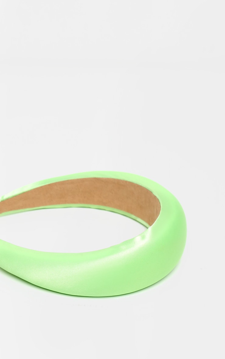 Neon Lime Chunky Satin Headband  3