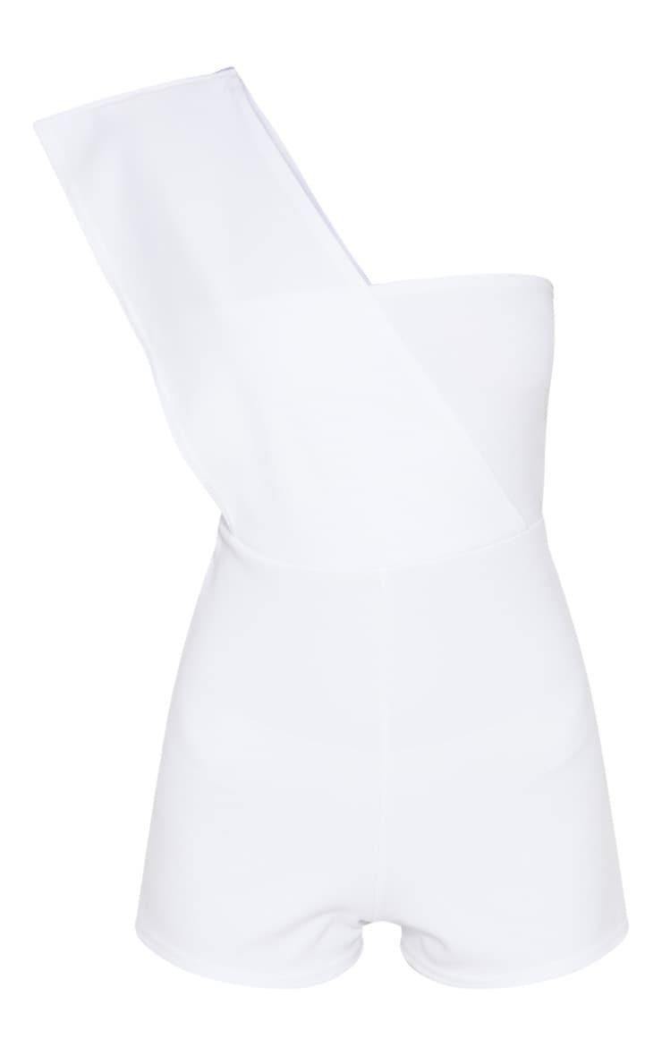 White Drape One Shoulder Playsuit 3