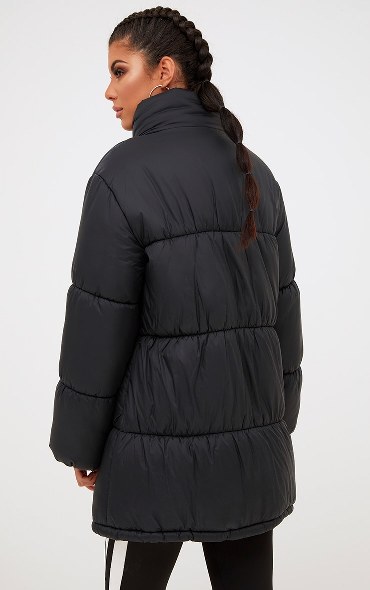 Black Ring Pull Longline Puffer Jacket 2