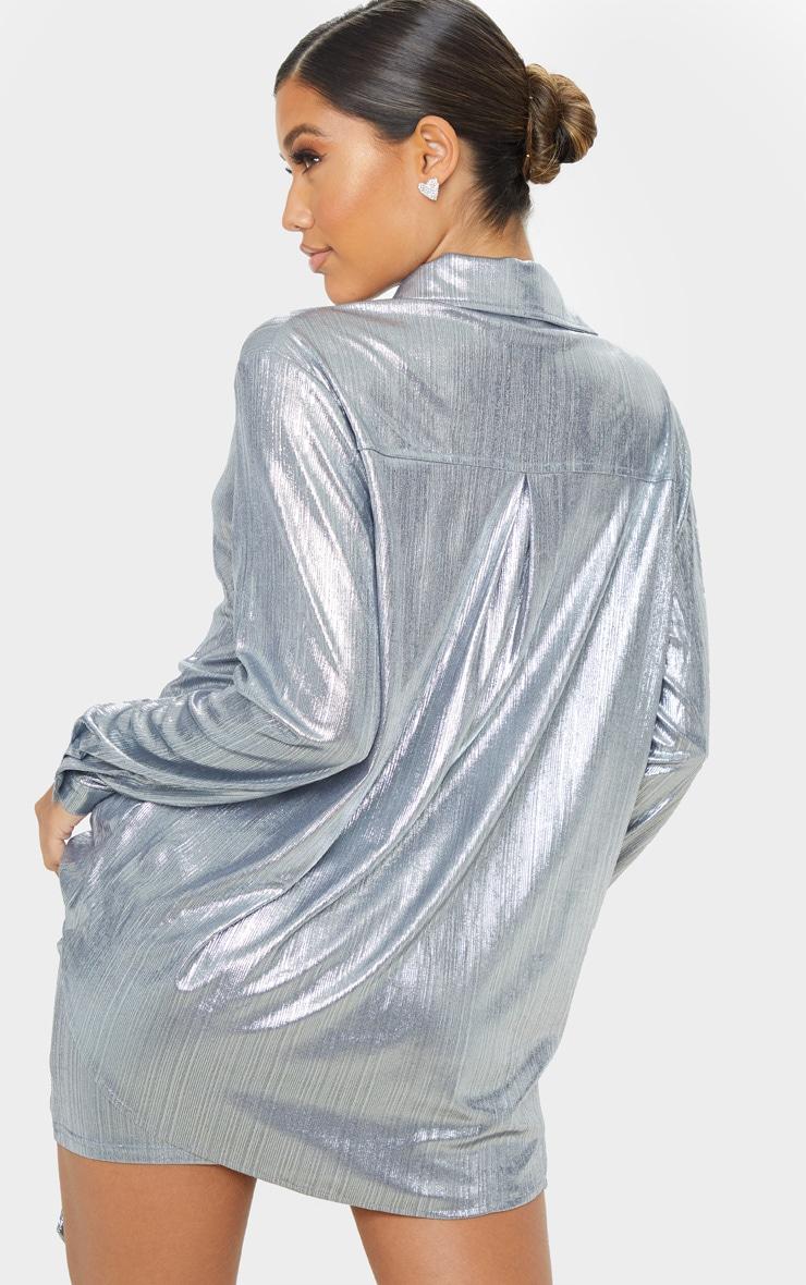 Silver Metallic Button Front Shirt 2