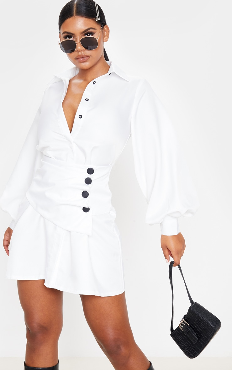 White Button Waist Detail Shirt Dress